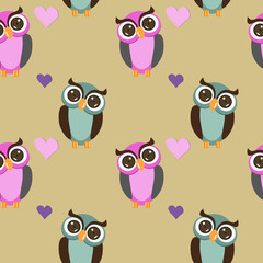 seamless pattern owls