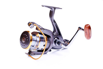 Modern reliable coils for fishing on a white background