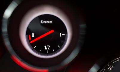 Finances fuel gauge nearing empty.