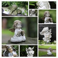 Collage - Engel auf dem Friedhof im Grünen