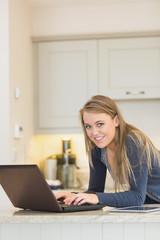 Woman having fun at the laptop
