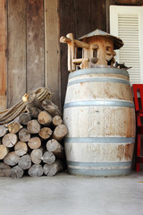 Wooden drum and logs