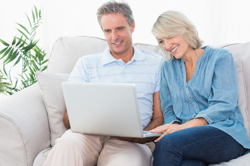 Happy couple using laptop together on the couch