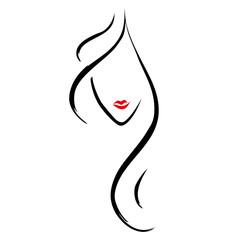 Friseur Modell Haare Logo Vektor Silhouette