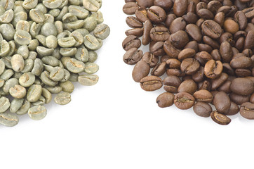Wall Mural - Coffee beans raw and toasted close up on the white