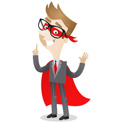 Businessman, Superhero, standing, pointing, smiling