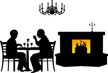 Retired elderly couple having a romantic dinner in a restaurant