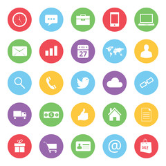 colorful business and ecommerce icons set