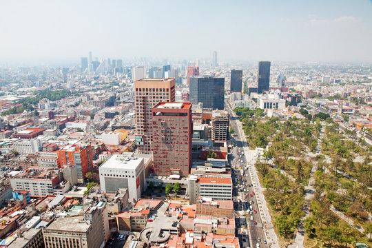 Aereal view of Mexico city and the Palacio of Bellas artes