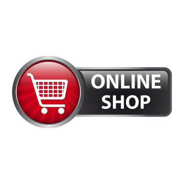 Online Shop mit Einkaufswagen Icon - Button Label