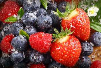 Berry background with water droplets