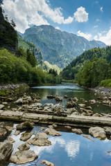 Foto auf Gartenposter Gebirge Landscape with mountains and river Salza - Styria, Austria.