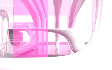 Abstract interior with pink glass and old tree