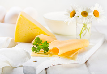 cheese  slices with parsley