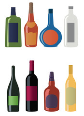 Set of different alcohol drinks and bottles