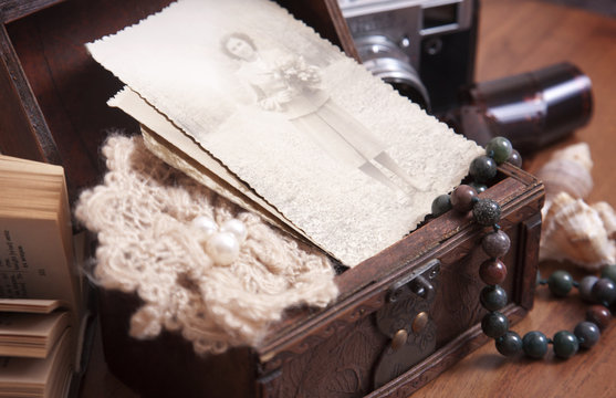 Vintage photo in a box