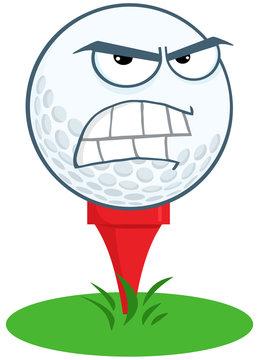 Angry Golf Ball Over Tee