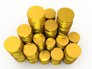 Rouleaus of golden coins isolated on white