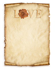 Old paper sheet, old paper with rose and love