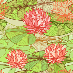 Seamless floral pattern with pink water lilys