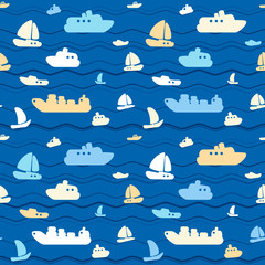 Child seamless pattern with cute boats and sea