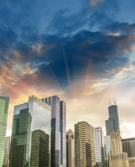Beautiful view of Chicago Skyline with dramatic sky