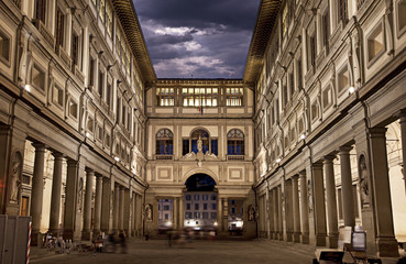 Aluminium Prints Florence Uffizi Gallery. Night Shot