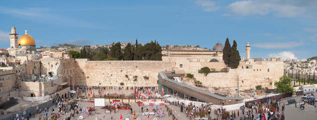 Temple Mount in Jerusalem with Dome of the Rock and Wailing Wall