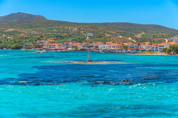 Greece elafonisos view of clear waters of sea with blue sky and