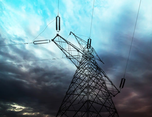 High-voltage tower sky background