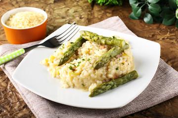 Rice with fresh asparagus