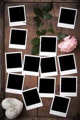 Polaroid, Fotorahmen auf Holz mit Rose und Herz