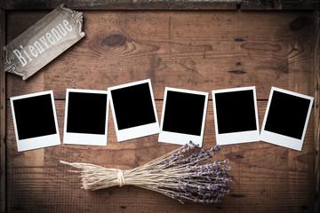 Polaroid, Fotorahmen auf Holz mit Lavendel und französischem Wi