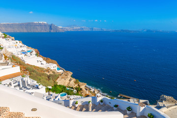 Fototapete - Greece famous Santorini island in Cyclades, panoramic view of tr