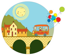 Travel by bus to the town