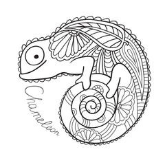 Cute chameleon in ethnic style