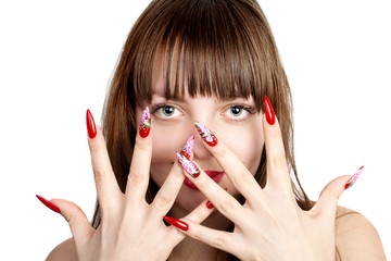 Woman with fingernails