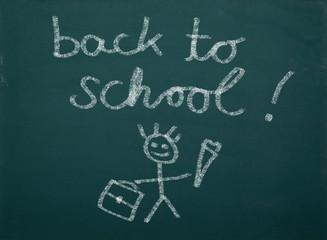 Schultafel mit Kinderzeichnung Back To School