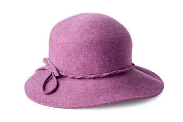 purple female felt hat isolated on white background Wall mural