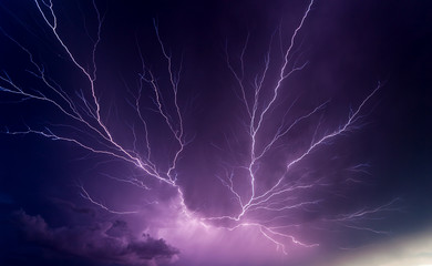 Canvas Prints Storm Powerful lightnings