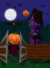 Хеллоуин  привидение с головой тыквы открывает ворота.