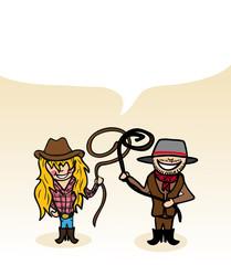 Australian cartoon couple bubble dialogue