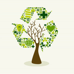 Green recycle symbol concept tree