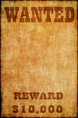 Wanted poster on old paper.