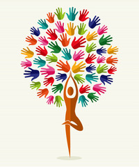 India yoga hands tree