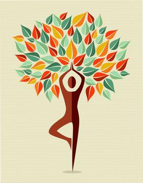India colorful yoga leaf tree