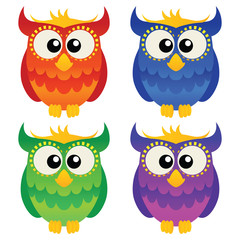 Set of four cute cartoon owls