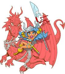 Spoed Foto op Canvas Ridders Girl Dragon Rider