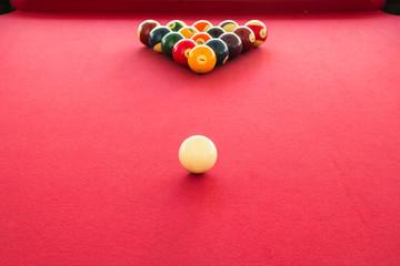 Billiard balls on the table