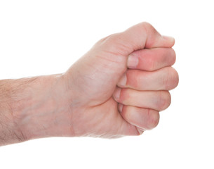 Close-up Man's Hand Clenching His Fist